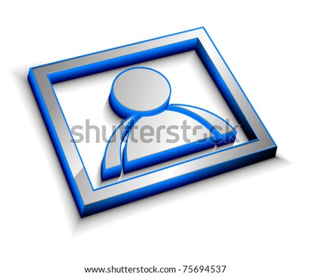3d glossy user icon, blue isolated on white background. - stock vector