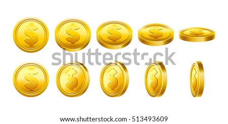 3d Gold coins illustration. Cool coins set. Eps10 vector.