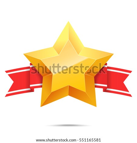 3 d gold star red banner ribbon stock vector royalty free