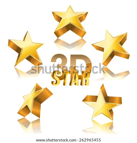3d golden star set with variations. vector illustration - stock vector