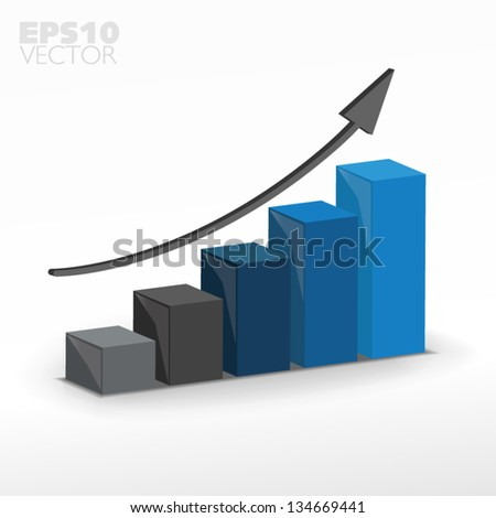 3D graph - stock vector