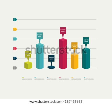 3D graph for infographic.  - stock vector