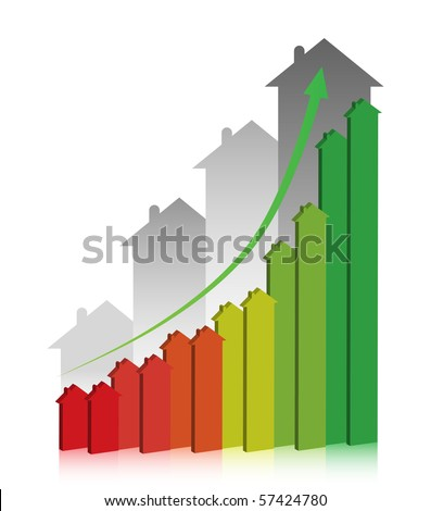 3D graph showing financial real estate growth. - stock vector