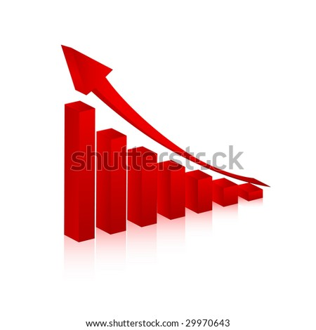 3d graph showing rise in profits or earnings / vector illustration - stock vector