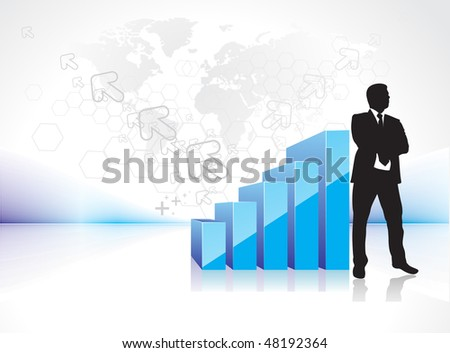 3d graph showing rise in profits or earnings with silhouetted of standing businessman. vector illustration, No mesh in this Vector - stock vector