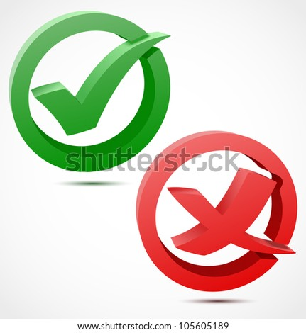 3d green and red check mark symbols. Vector illustration - stock vector