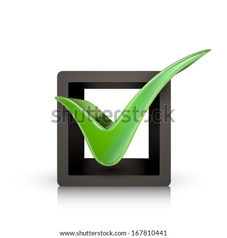 3d green check mark in box isolated white background - stock vector