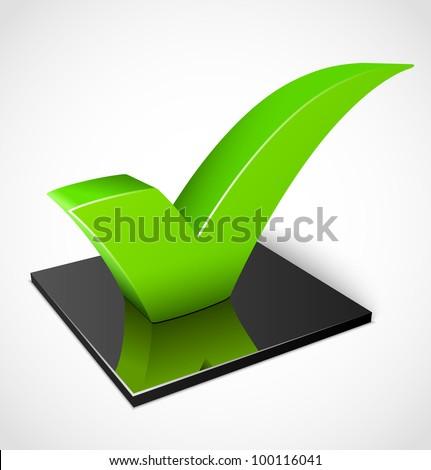 3d green check mark symbol - stock vector