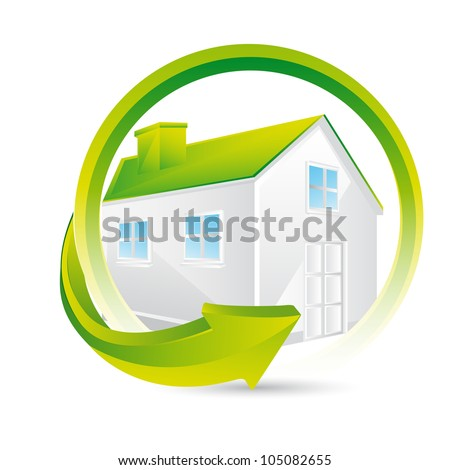 3d green house over white background. vector illustration - stock vector