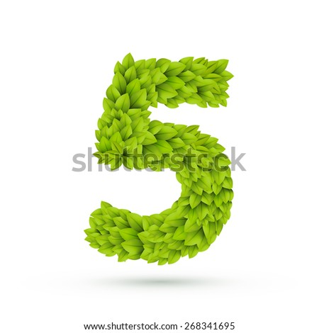 3d green leaves number 5 isolated on white background - stock vector