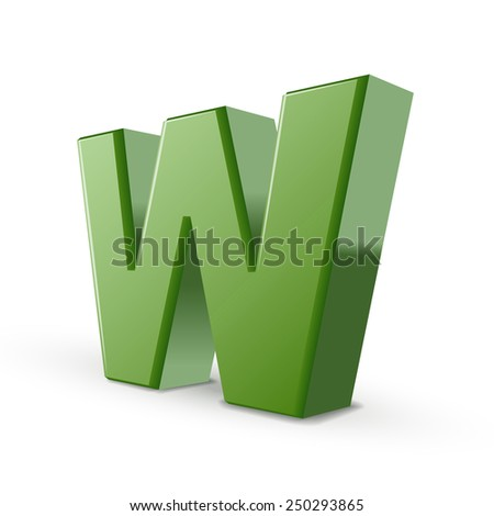 3d green letter W isolated on white background - stock vector
