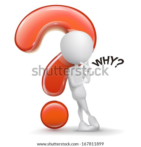 3d guy thinking in front of a big question mark isolated white background - stock vector