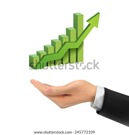 3d hand holding bar graph with rising arrow over white background - stock vector