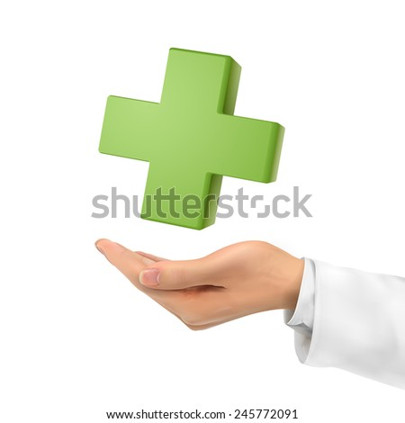 3d hand holding medical symbol over white background - stock vector