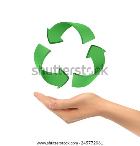 3d hand holding recycle sign over white background - stock vector