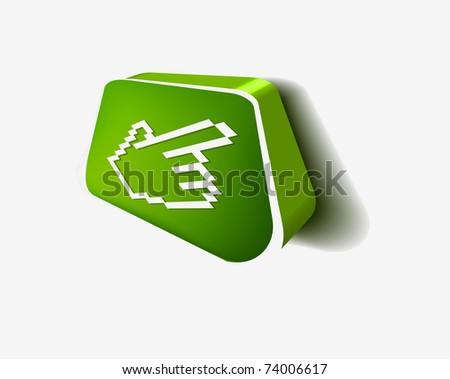 3d hand mouse cursor, vector icon - stock vector