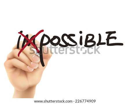 3d hand turning the word impossible into possible over white background - stock vector