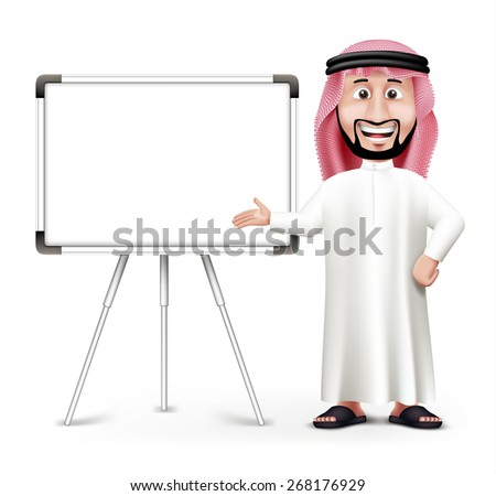 3D Handsome Saudi Arab Man in Traditional Dress Stand Teaching while Smiling with Blank White Board with Space for Text or Business Messages. Editable Vector Illustration - stock vector