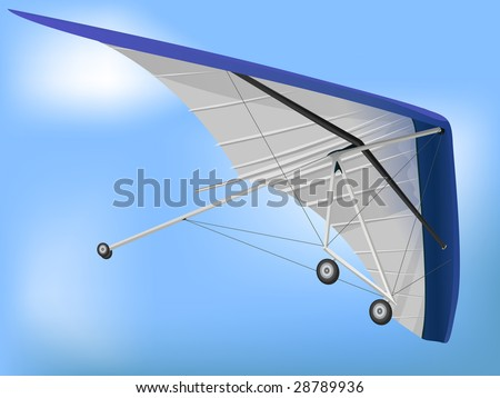 3d Hanglider Paragliding Wing in Perspective - stock vector