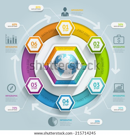 3d hexagon arrow timeline infographics. Vector illustration. can be used for workflow layout, banner, diagram, number options, step up options, web design. - stock vector