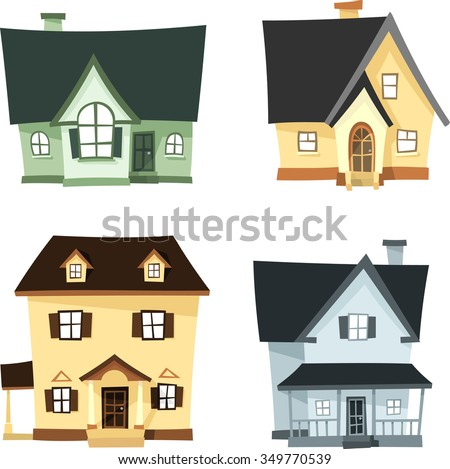 3D Homes Cartoon Set-Different variations of house architecture against white background - stock vector