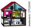 3d house cut vector illustration - stock vector