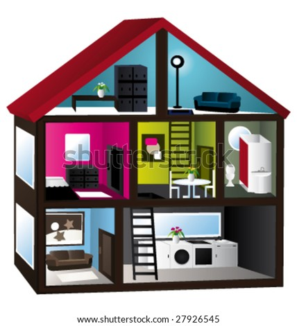3d house cut vector illustration - stock vector