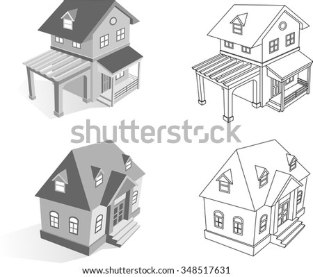 3D House Set-Collection of two residential house models, with outline variation - stock vector