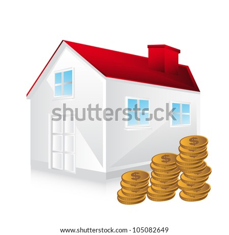 3d house with coins over white background. vector illustration