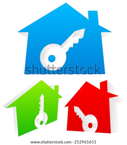 3d Houses with keyhole. Real estate, Home Security, lock, new house concepts. - stock vector