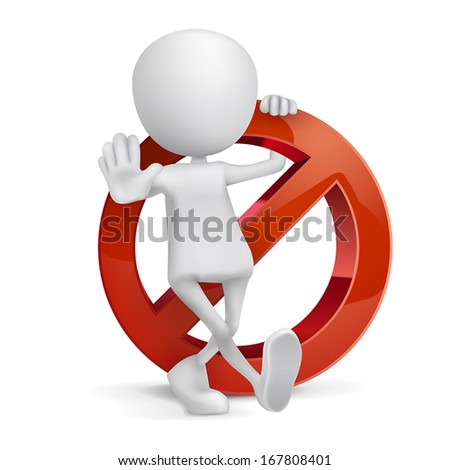 3d human with a Prohibition sign on white background - stock vector
