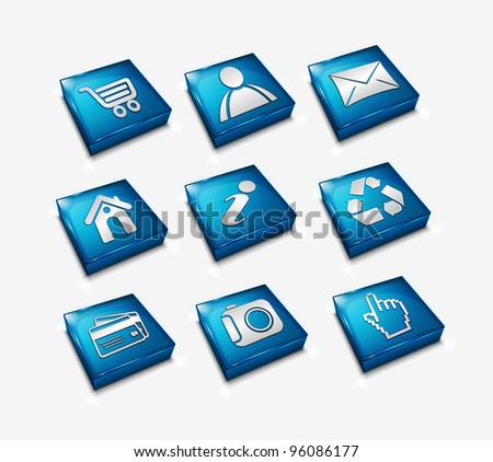 3d Icon set for web applications - Vector - stock vector