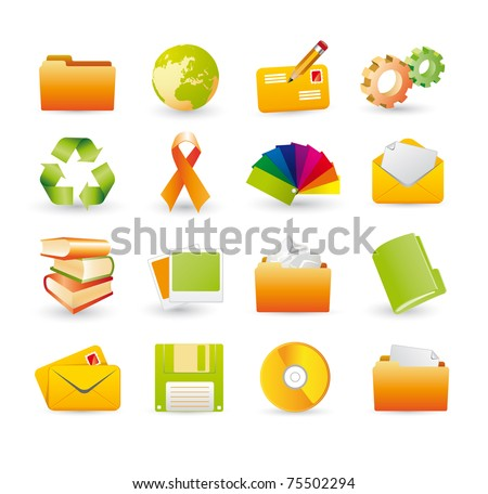 3d icons - stock vector