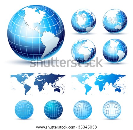 3D Icons: Glossy Earth Globes. Different views. Elements available for making other views. - stock vector