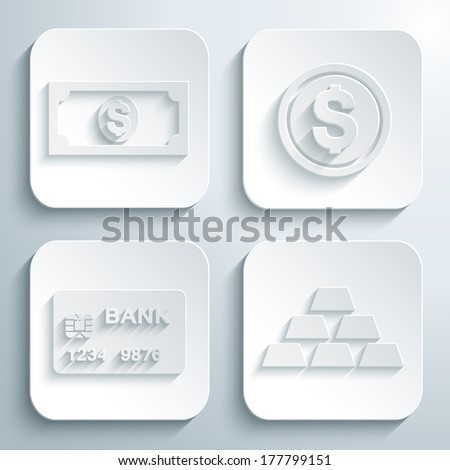 3D icons set - dollar, cent, credit card, gold bars. White app buttons. Eps10 - stock vector