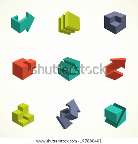 3d icons set. Vector illustration of abstract arrows and cubes, low poly style. Design element for poster, flyer, cover, brochure. Polygonal geometric figures. Logo design. - stock vector