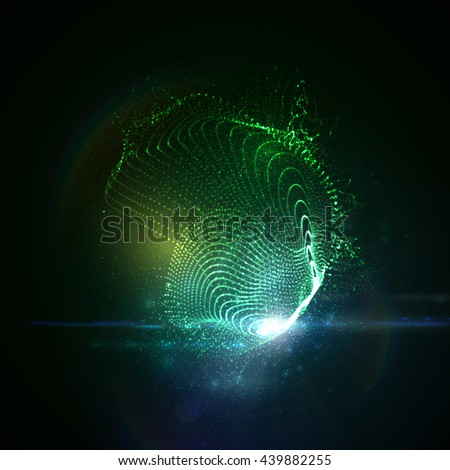 3D illuminated abstract digital neon splash of glowing particles and Flare lens light effect. Futuristic vector illustration of particles. Technology concept of radio sound wave. Abstract background - stock vector