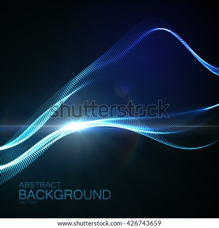 3D illuminated abstract digital wave of glowing particles and Flare lens light effect. Neon abstract background. Futuristic vector illustration of particles. Technology concept of radio or sound wave. - stock vector