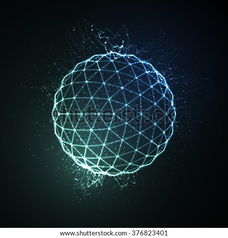 3D illuminated neon sphere of glowing particles. Futuristic vector illustration. HUD element. Technology concept - stock vector
