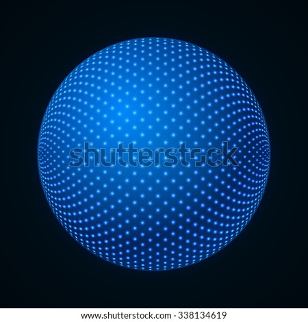 3D Illuminated Sphere. Glowing Particles. Futuristic Design Element. Hi-tech Abstract Background. Technology Concept. Vector Illustration. - stock vector