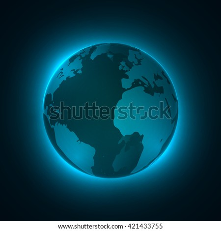 3D illuminated sphere, glowing particles. Technology concept background. Vector illustration.