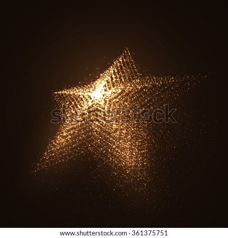 3D illuminated star shape of glowing particles. Futuristic vector illustration. HUD element. Technology concept - stock vector