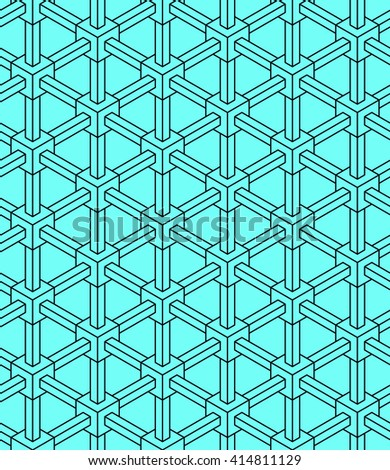 3d illusion industrial geometric seamless vector pattern - stock vector