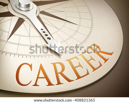 3d illustration compass needle pointing the word career - stock vector