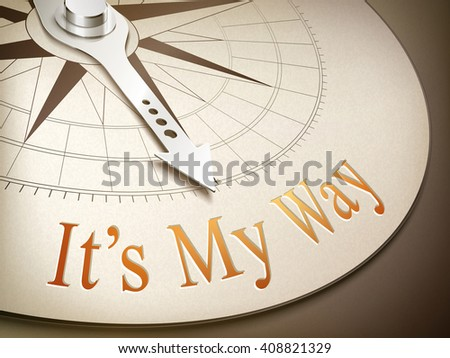 3d illustration compass needle pointing the word it's my way - stock vector
