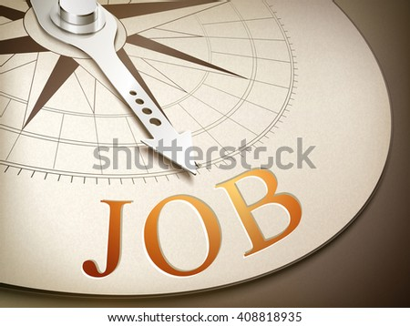 3d illustration compass needle pointing the word job - stock vector