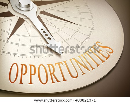3d illustration compass needle pointing the word opportunities - stock vector