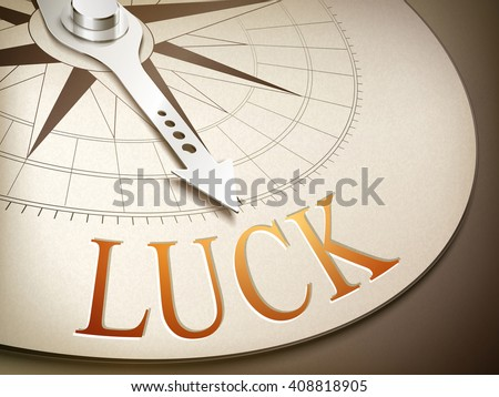 3d illustration compass with needle pointing the word luck - stock vector