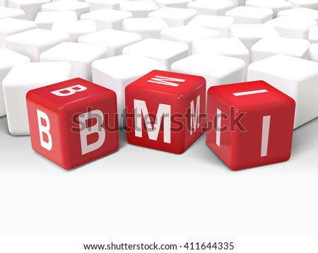 3d illustration dice with word BMI Body Mass Index on white background