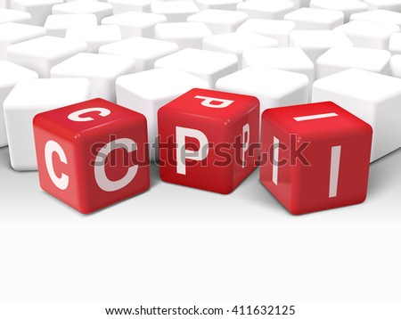 3d illustration dice with word CPI Consumer Price Index on white background
